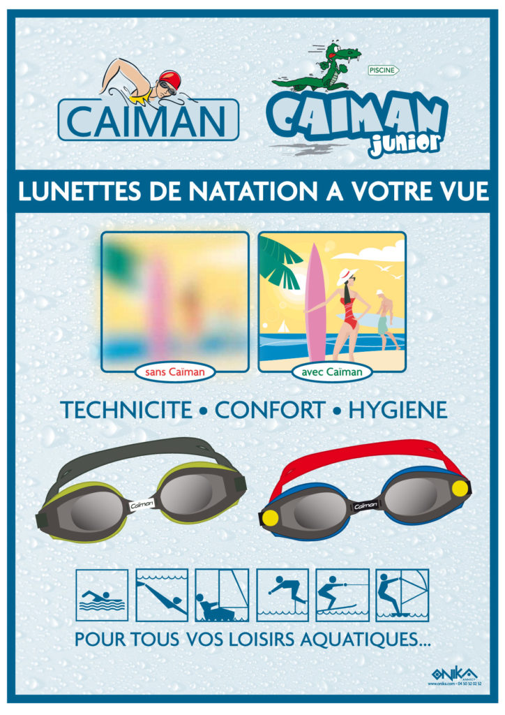 Affiche Caïman lunettes natation à votre vue